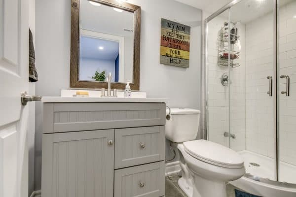 renovated basement bathroom
