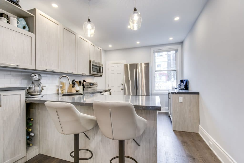 renovated kitchen in basement