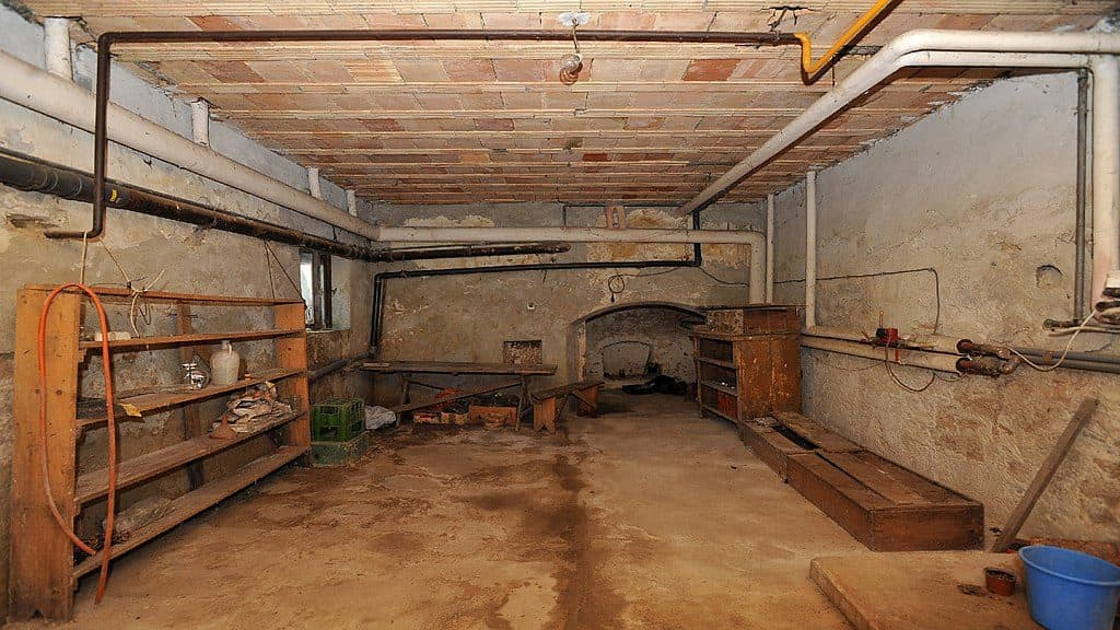 basement with a low ceiling